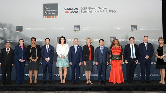 Government representatives posing for a group picture at the OGP Global Summit 2019 in Ottawa