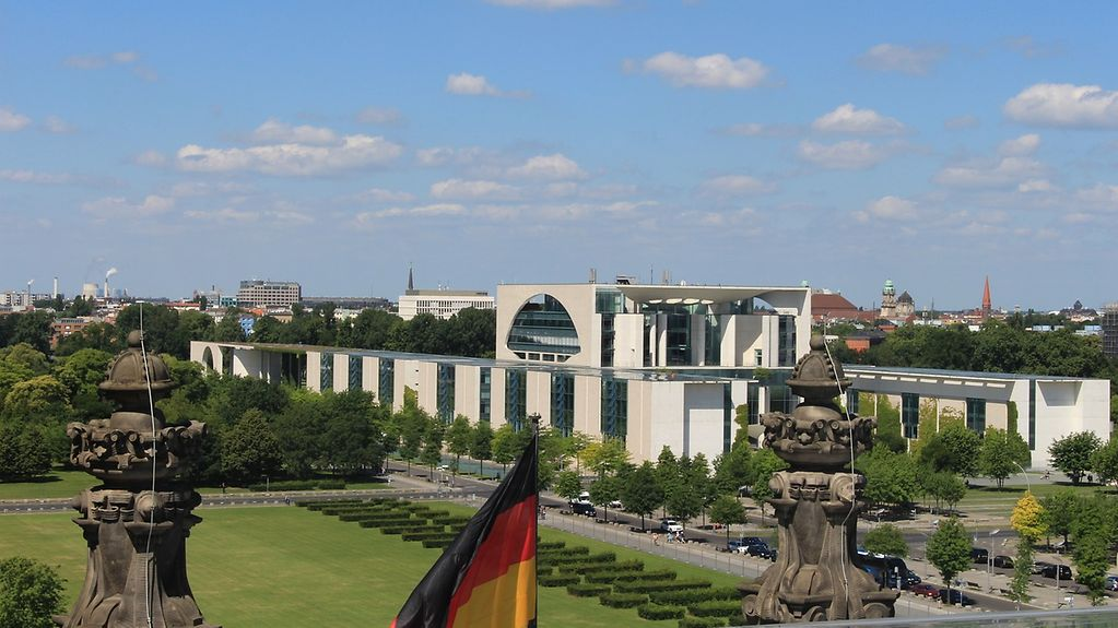 View of the German Federal Chancellery as seen from the roof of the Reichstag building