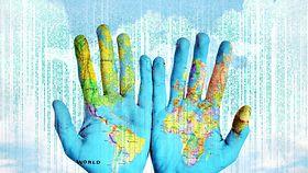 Layoutbild: Weltkarte projeziert auf Menschenhände