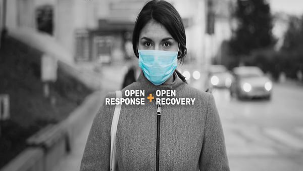 """Hintergrundbild einer jungen Frau mit medizinischer Maske, darüber steht """"Open Response and Open Recovery"""""""