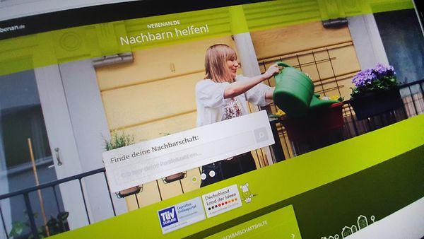 Screenshot der Homepage www.nebenan.de, einer Onlineplattform zur Nachbarschaftshilfe.